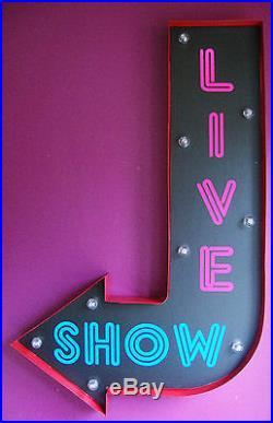LIVE SHOW arrow light led sign neon strip club retro vintage soho london VAC205