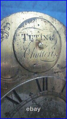 Lantern-Hook & Spike Wall Clock c. 1760 & Later For Restoration With Rack Strike