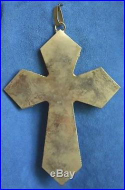 Large 5 7/8 Vintage MOSAIC CROSS Rome Italy Glass Tile Brass Frame Wall Plaque