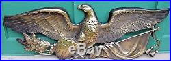 Large American Gold Eagle Plaque Wall Hanging Art 46 Vintage 1950's AMERICANA