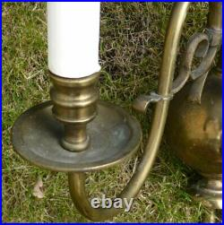 Large Antique Vintage Flemish brass wall lights French Chic