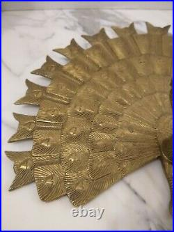 Large Brass Peacock Vintage Wall Hanging Decoration