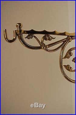 Large Brass Vintage Victorian Wall hung Porch- Hanging Flower Pot Basket Bracket