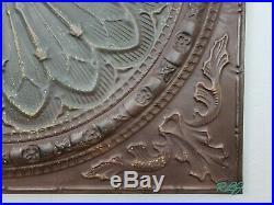 Large Decorative Rustic Old World Vintage Metal Medallion Wall Art Plaque Panel