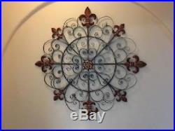 Large Decorative Vintage Scroll Wrought Iron Metal Wall Grille Art Plaque Decor