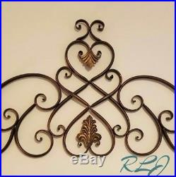 Large Decorative Vintage Tuscan Scrolling Metal Wall Grille Art Plaque Decor NEW