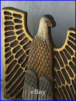 Large Hand Carved Wood Wall Plaque American Bald Eagle Gilded Vintage