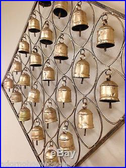 Large Metal Rustic Iron Bell Plaque Vintage Chime Modern Chic Cottage Wall Decor