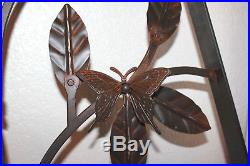 Large! Rare Vintage Jan Barboglio Hand Forged Iron Butterfly Wall Sconces Plaque
