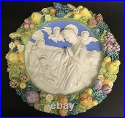 Large Vintage 14 Inch Della Robbia Madonna & Angels Italian Pottery Wall Plaque