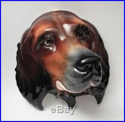 Large Vintage Beswick England Red Setter Dog Head Wall Plaque #668