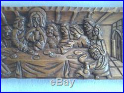 Large Vintage Carved Wood Last Supper Priests Altar Church Wall Plaque