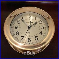 Large Vintage Chelsea Clock, Cleaned, Oiled, Polished Brass, 8.5 Dial, Boat
