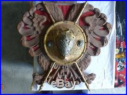 Large Vintage Double Headed Eagle Carved Wood Wall Hanging Plaque, Coat Of Arms