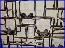 Large Vintage Mid Century Brutalist Abstract Wall Nail Sculpture Candle Holders
