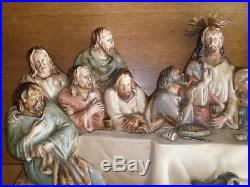 Large Vintage Polychromed Last Supper Priests Figurine Statue Wall Plaque