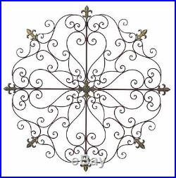 Large Vintage Rustic Decorative Scroll Wrought Iron Metal Wall Grille Art Plaque