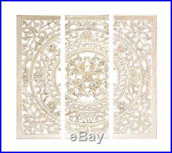 Large Vintage Rustic Tuscan Wood Set/3 Carved Wall Art Panels Plaque Home Decor