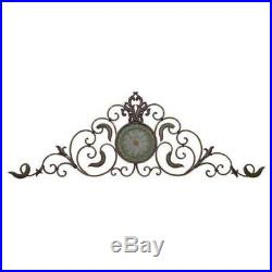 Large Vintage Tuscan Decorative Scroll Wrought Iron Metal Wall Grille Art Plaque
