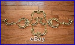 Large Wall Hanging Vintage Brass Coat Hat Rack Hanger Ornate Scroll 4 Hooks NICE