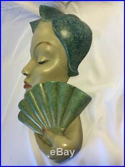 Large original leonardi plaster wall mask plaque, lady & fan vintage Art Deco