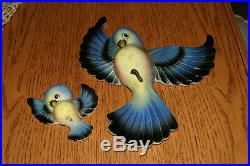 Lefton Vintage Bluebird Mama and Baby Wall Plaques 1950 RETRO FIGURINES MINT