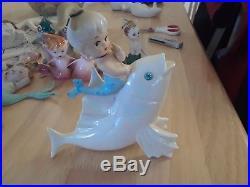 Lefton Vintage Ceramic Mermaid on Iridescent Fish wall plaque figurine