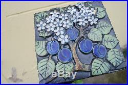 Lisa Larson Pleasant Plum Wall Plaque (Pomona 1971) Vintage GUSTAVSBERG SWEDEN
