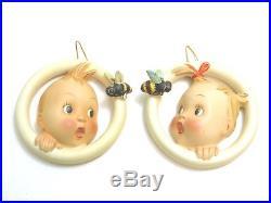 Lot Of 2 Vintage Hummel Boy And Girl Ba-bee Ring Wall Plaques 30/0 A B No Tmk