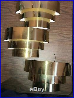 Lot of 3 Vintage BRUSHED BRASS Wall Sconce VENETIAN BLIND Art Deco Mid Century