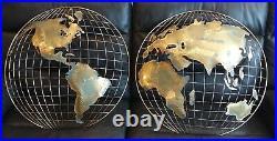 MCM SIGNED C Jere WORLD GLOBE MAP Wall METAL ART BRUTALIST Sculpture VTG 54