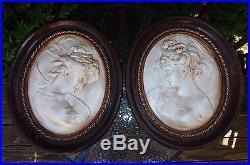Mint! Rare Set Of 2 Vintage Abco Victorian Wall Plaque Portrait Alexander Backer