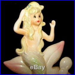 MINT! Vintage Lefton Pink Mermaid w Starfish Wall plaques with Bubbles