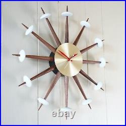 MODERN STARBURST WALL CLOCK VINTAGE SPUTNIK EAMES ERA 1950s STYLE WALNUT BRASS