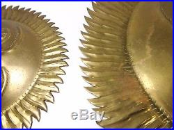 MODERNIST VINTAGE SM/MED/LG TRIPLE BRASS SUN PLAQUES WithFACES, WALL DECOR (INDIA)