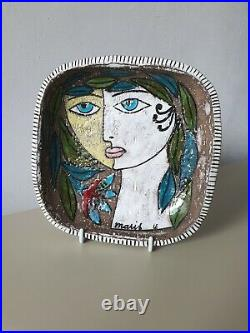 Mari Simmulson Upsala Ekeby ceramic wall plaque / bowl MCM Swedish art vintage