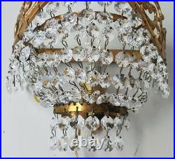 Matching Pair of Antique Vintage Brass & Crystals Wall Sconces Chandelier Lamp