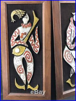 Maurice CHALVIGNAC 2 X Wall Plaques Teak Fat Lava Glaze Pottery MCM Vintage Art
