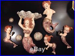 Mermaid Family Ceramic Wall Hangings Wall Plaque Figurines 8pc Vintage 1960