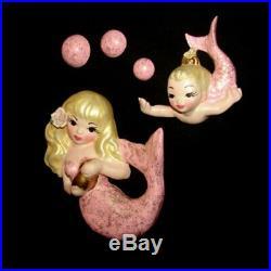 Mermaid Mom and Baby Wall Plaque Set for Vintage or Retro Mermaid Bath