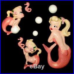 Mermaid & Seahorse Wall Plaque Hanging & Bubbles for Vintage or Retro Bath Decor