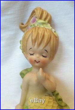 Mermaid Wall Plaque Girl Boy Figurine Bisque Porcelain Lefton Japan Vtg Lot 2