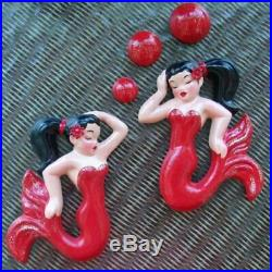 Mermaid Wall Plaques for Vintage or Retro Decor Deforest of California