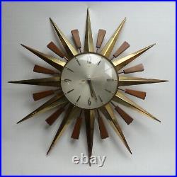 Metamec Sunburst Vintage Midcentury Wood and Brass Wall Clock Working 60s 70s