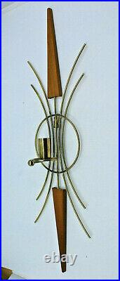 Mid Century Modern Brass Teak Candle Holder Wall Sconce Set of 2 Vintage AS-IS