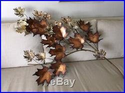 Mid Century Modern C. Jere' Copper/Brass Wall Sculpture Maple Leaves/Signed