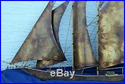 Mid-Century Modern Metal Art Brass Ship Huge 50 Vintage Wall Sculpture by Wiley