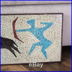 Mid-Century Modern Mosaic Archery Bull Hunt Wall Plaque Vtg Glass Tile Ackerman