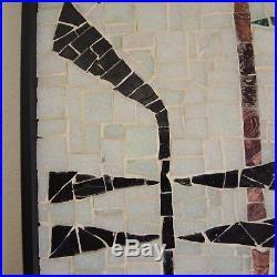 Mid-Century Modern Mosaic Musical Instrument Wall Plaque Vtg Glass Tile Ackerman