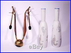 Mid Century Wall Lamp 1950s Stilnovo Sconce Teak Brass Glass Vintage Italian 60s